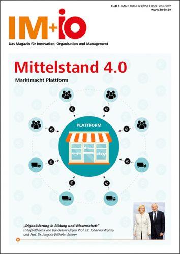 """Cover zur Ausgabe """"Mittelstand 4.0) des Magazins IM+io zu Themen der Digitalisierung, Management und Wissenschaft"""