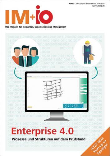 """Cover zur Ausgabe """"Enterprise 4.0"""" des Magazins IM+io zu Themen der Digitalisierung, Management und Wissenschaft"""