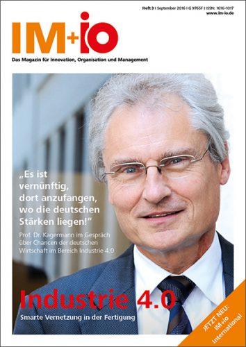 """Cover zur Ausgabe """"Industrie 4.0"""" des Magazins IM+io zu Themen der Digitalisierung, Management und Wissenschaft"""