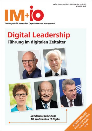 """Cover zur Ausgabe """"Digital Leadership"""" des Magazins IM+io zu Themen der Digitalisierung, Management und Wissenschaft"""