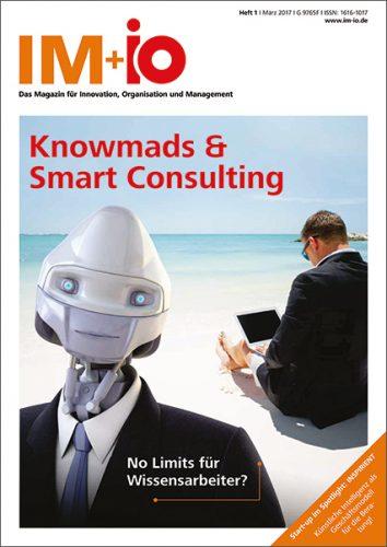 """Cover zur Ausgabe """"Knowmads & Smart Consulting"""" des Magazins IM+io zu Themen der Digitalisierung, Management und Wissenschaft"""