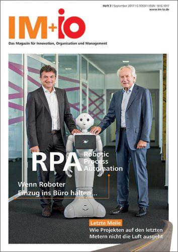 """Cover zur Ausgabe """" Robotic Process Automation RPA"""" des Magazins IM+io zu Themen der Digitalisierung, Management und Wissenschaft"""