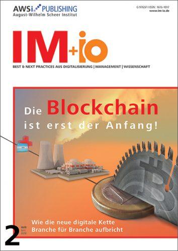 """Cover zur Ausgabe """"Blockchain"""" des Magazins IM+io zu Themen der Digitalisierung, Management und Wissenschaft"""