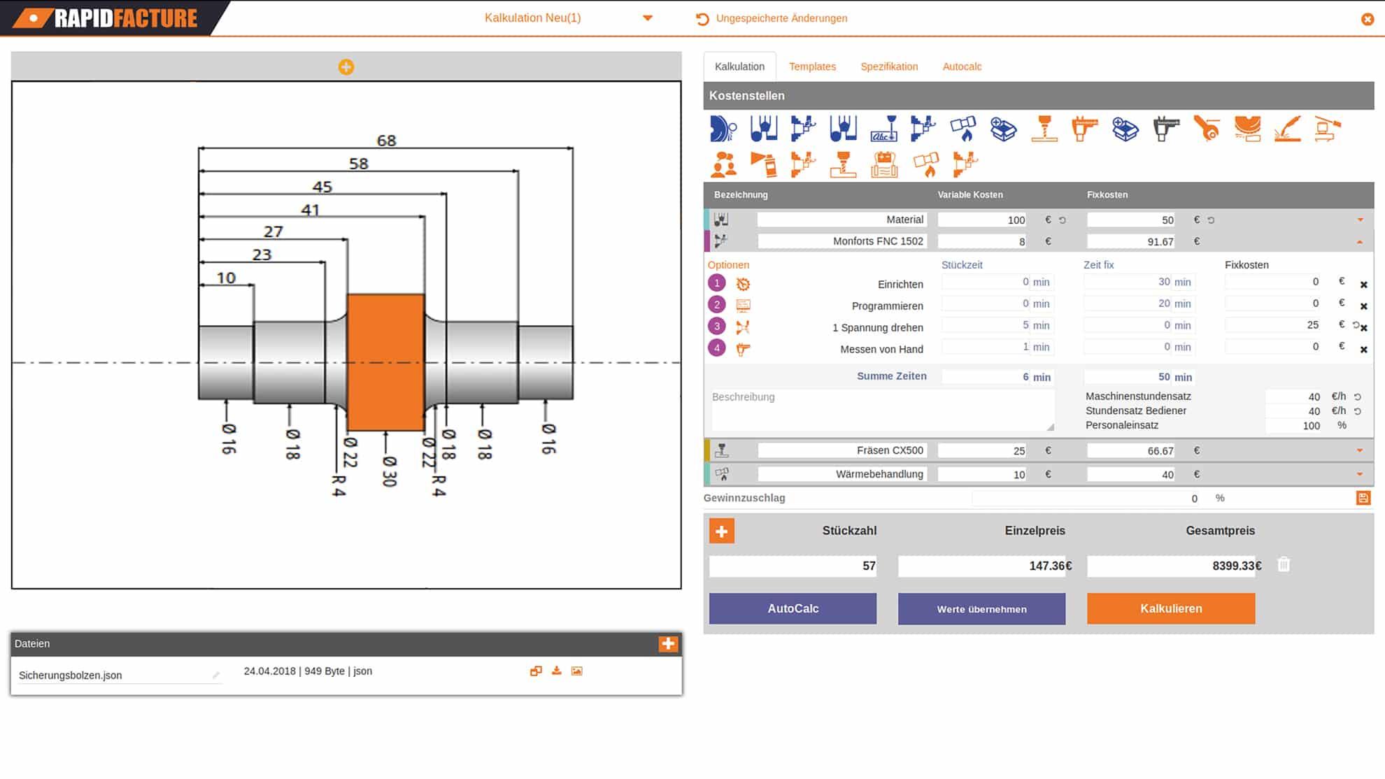 Beispiel von Rapidfracture zur Online-Fertigung von Frästeilen