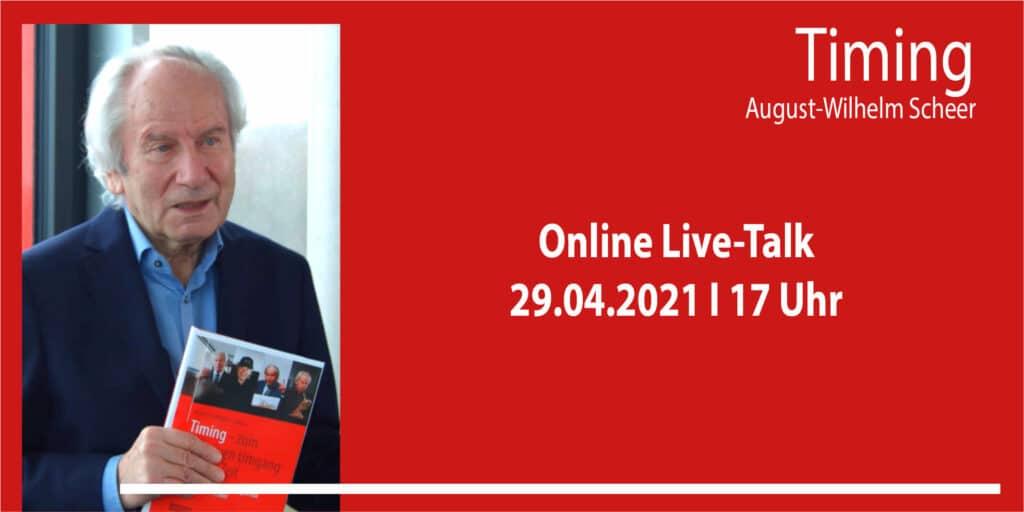Banner für das Event Online Live-Talk zum Buch Timing mit August-Wilhelm Scheer