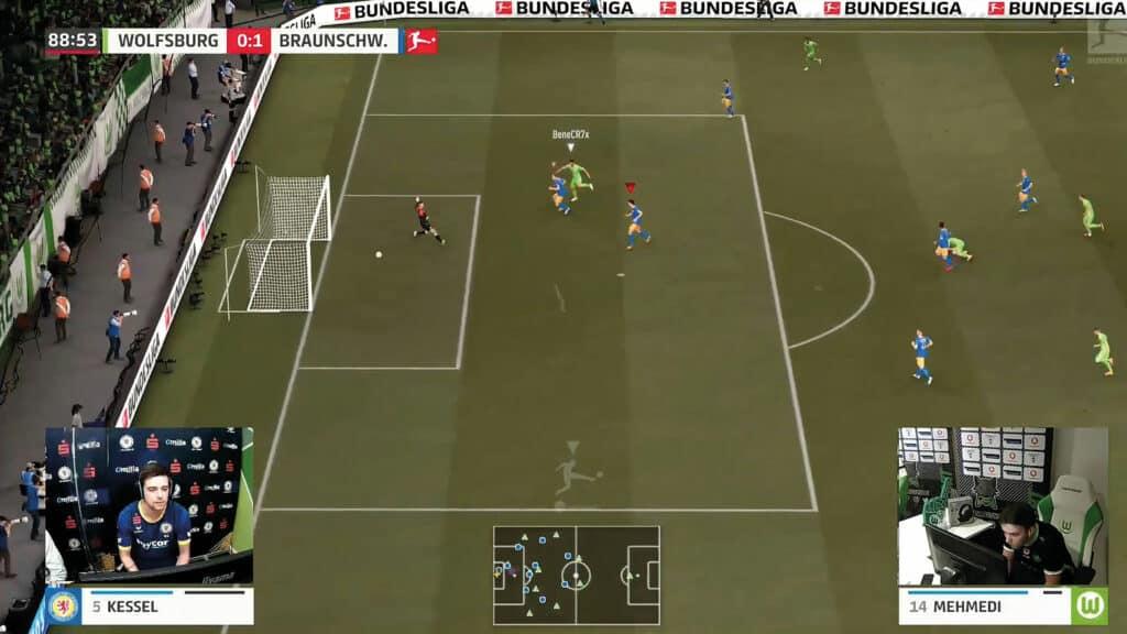 Fußballfeld auf Computerdesktop